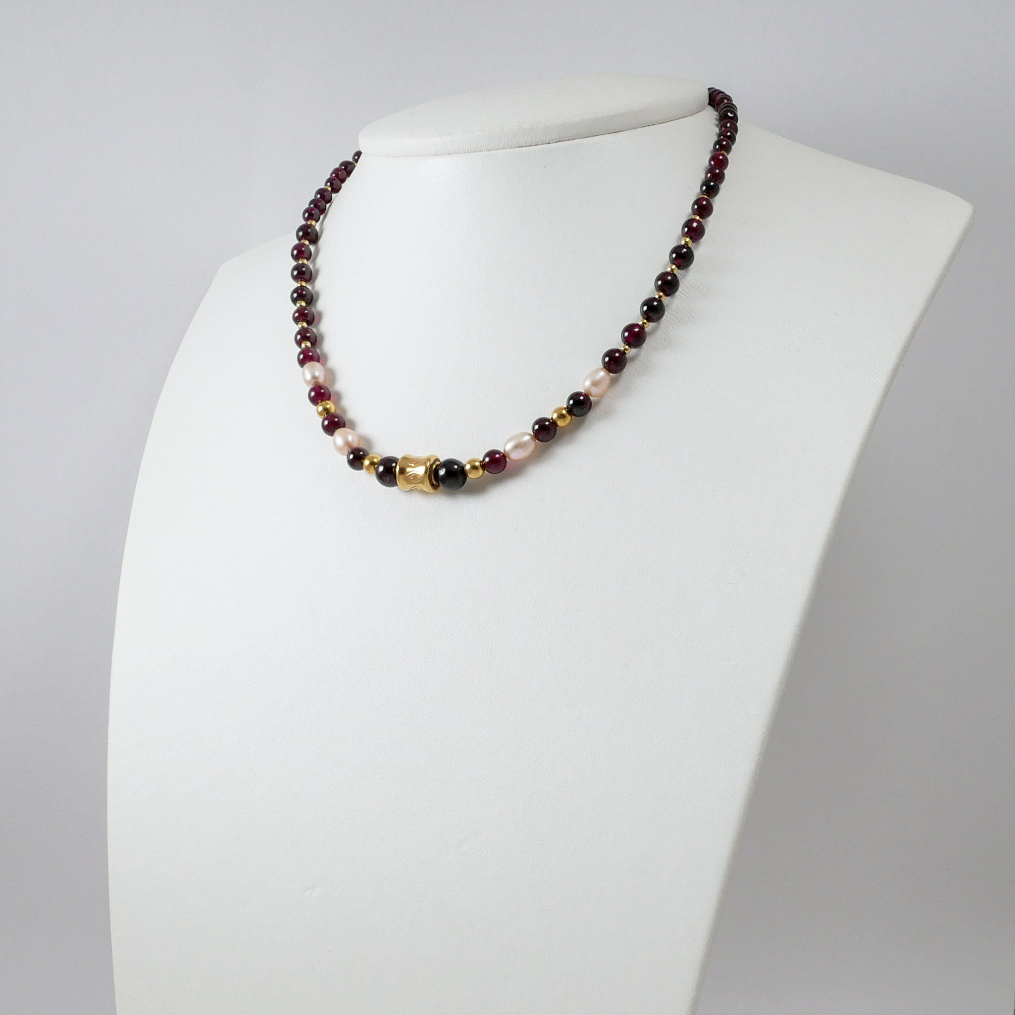Garnets, Pearls & Gold Plated Silver Necklace (II)