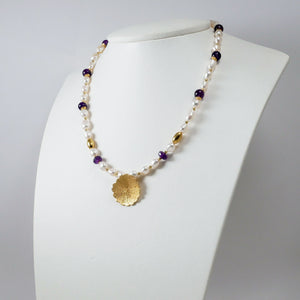 Pearls, Amethysts & Gold Plated Silver Necklace (Anthos)