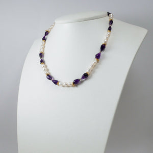 Pearls, Amethysts & Gold Plated Silver Necklace (II)