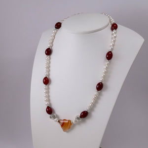 Pearls, Carnelians, Agates, and Sterling Silver Necklace - Katerina Roukouna