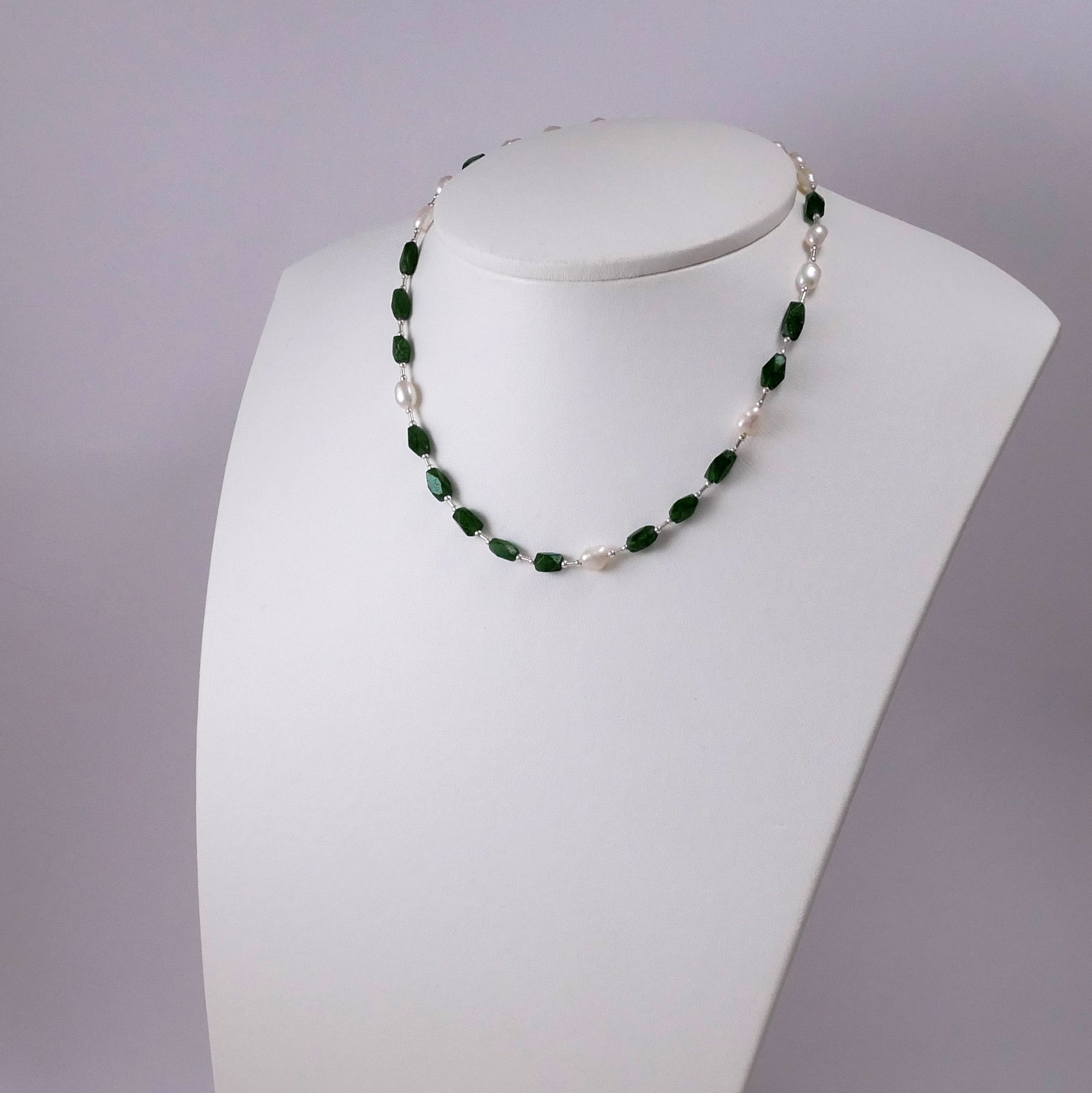 Pearls, Aventurine, and Sterling Silver Necklace - Katerina Roukouna