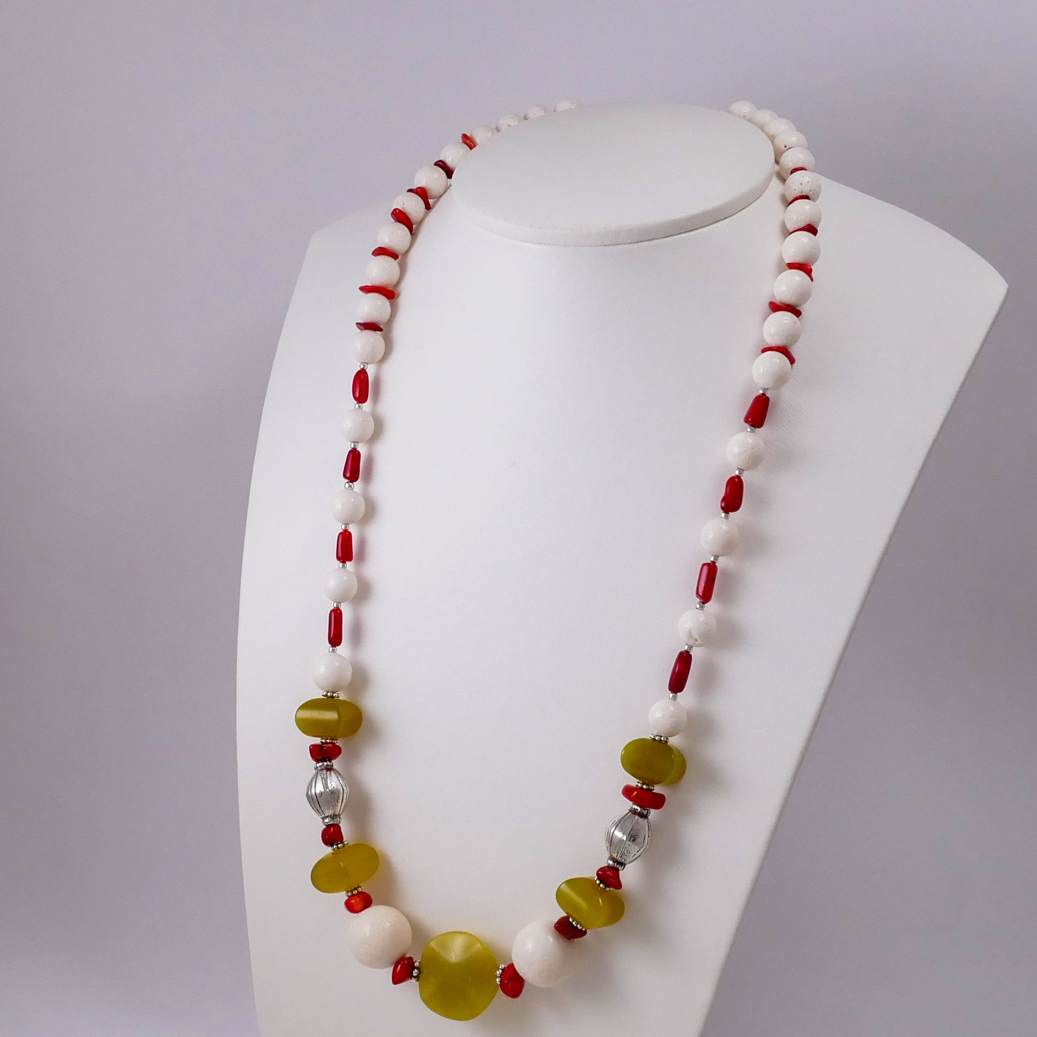 White & Red Corals w' Olive Jade and Sterling Silver Necklace - Katerina Roukouna