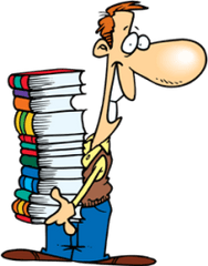 a man with a tall pile of books