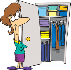a woman next to a closet