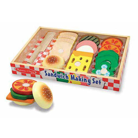 Wooden Sandwich Making Pretend Play Food Set