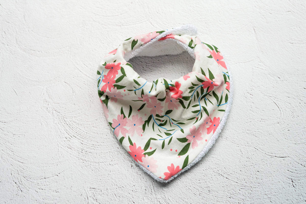 Pink Flowers Draped Dribble Bib