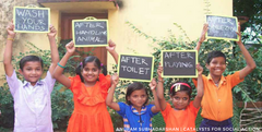 Children displaying signs of best times to wash hands to prevent illness