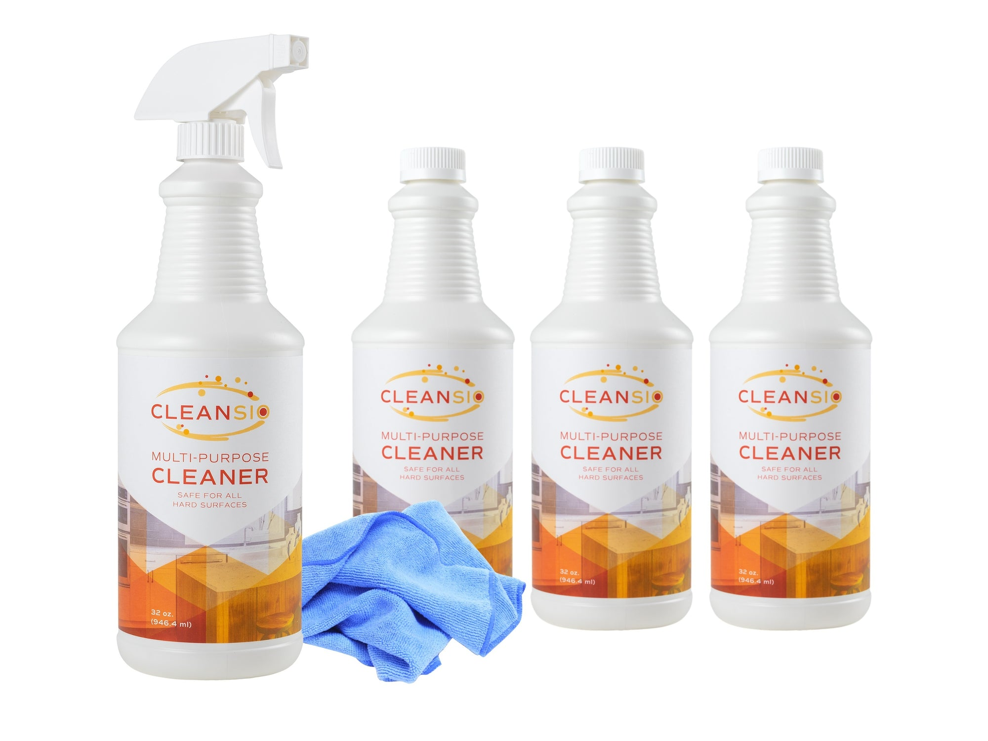Cleansio Multi-Purpose Cleaner Family Bundle – Fragrance Free, 32 oz – 4 pack, Sprayer Nozzle, and Microfiber Towel