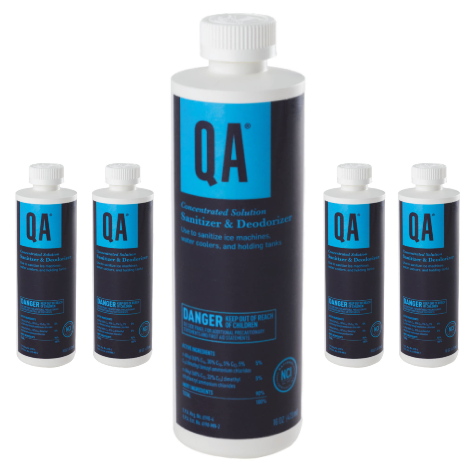 Q.A. Concentrated Solution 5-Pack Bundle - Effective Disinfectant, Deodorizer, and Sanitizer, 4oz – 5 pack