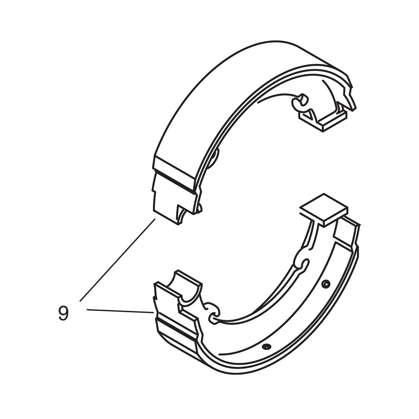 Relined Rear Brake Shoes - 1944-53 Models