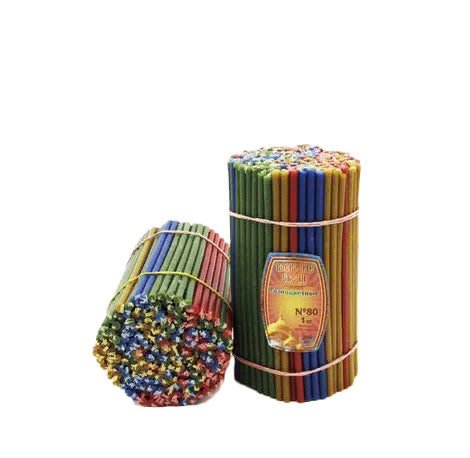 Diveevo Multicolor Beeswax Church Candles 185mm N80 200 pcs