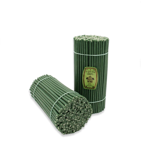 Church beeswax candles Diveevo «Green» 1 kg pack N40, 100 pieces.