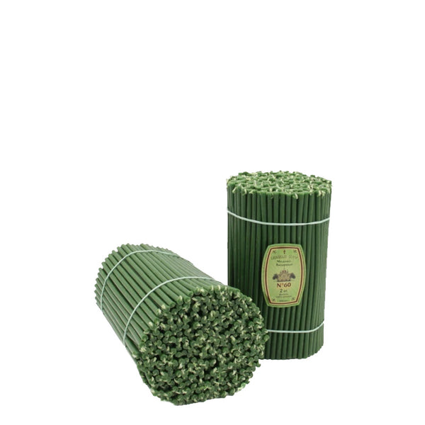 Diveevo Green Beeswax Church Candles 1 kg N60, 150 pcs