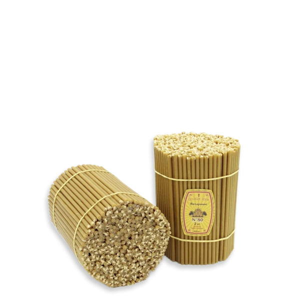 "Diveevo Beeswax Church Candles  ""Amber"" 2 kg N80, 400pcs"