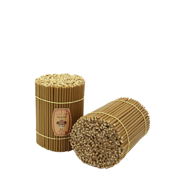 "Diveevo Beeswax Church Candles  ""Honey"" 1 kg N80, 200pcs"