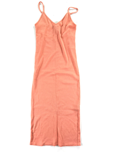 V-Neck Ribbed Body Con Midi Dress, Forever 21 (S)