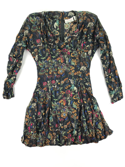Long sleeve black and floral vintage dress, Passports a pier 1 imports (M)