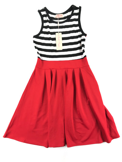 striped red, black and white dress, Belle Poque (M)