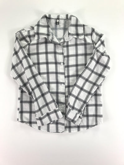 Black and white long sleeve plaid button up shirt, SSK NKN (L)