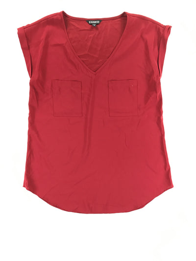 Shiny short sleeve red tunic-length blouse, Express (M)