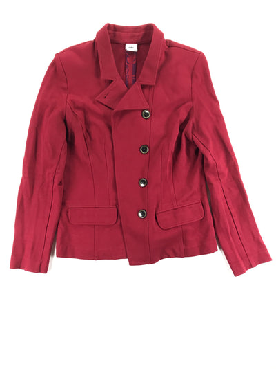 Deep red blazer jacket with asymmetrical buttons and incredible quality, Cabi (10)
