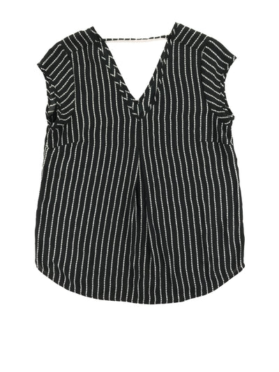 Women's black and white striped tunic length shell with v-neck, Halogen (M)
