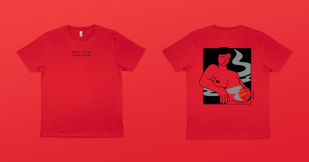 Red t-shirt with an illustration of a confident woman standing while containing a fire in her lower abdomen, with smoke dancing around her as the fire turns down. Illustration by artist Ana Curbelo, Untepid 2021.