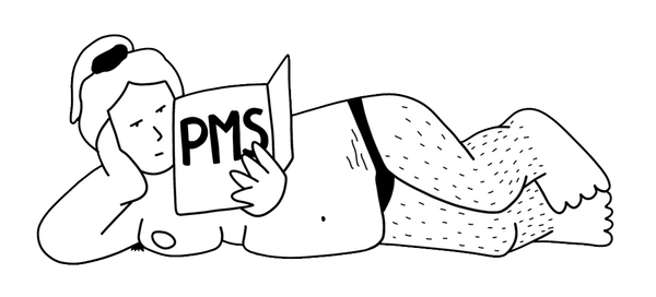 Image contains line illustration of a woman reading a PMS book. Illustrator Ana Curbelo. The Tampon Book