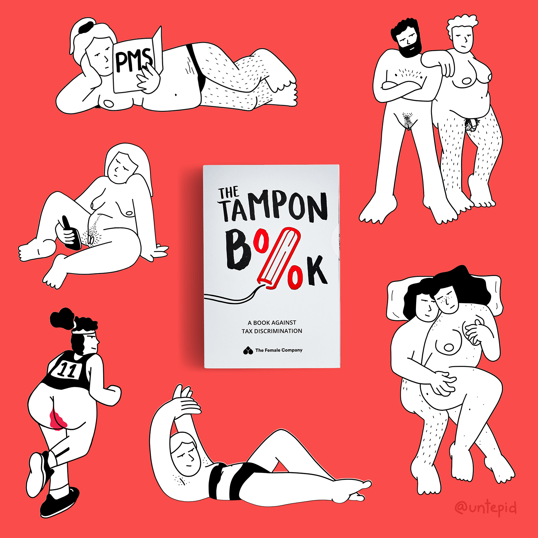 Single line illustrations of powerful, bold and uncompromising women characters by illustrator Ana Curbelo for The Tampon Book.