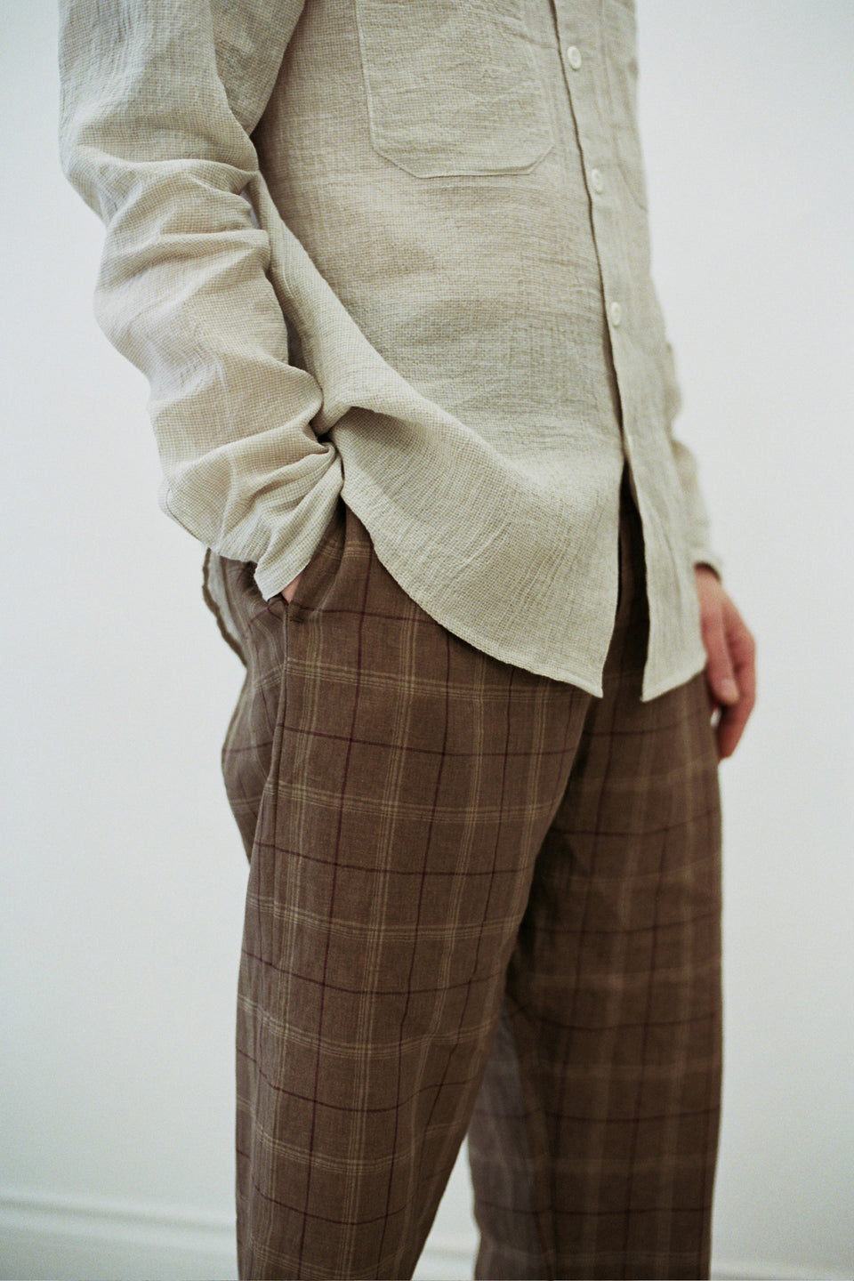 Sand Tumbled Linen Check Elastic Pant