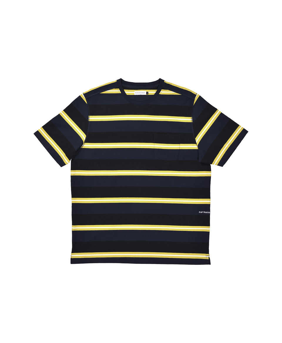 Pop Trading Company AW20 FW20 Striped Pocket T-Shirt Navy / Electric Yellow Calculus Victoria BC Canada