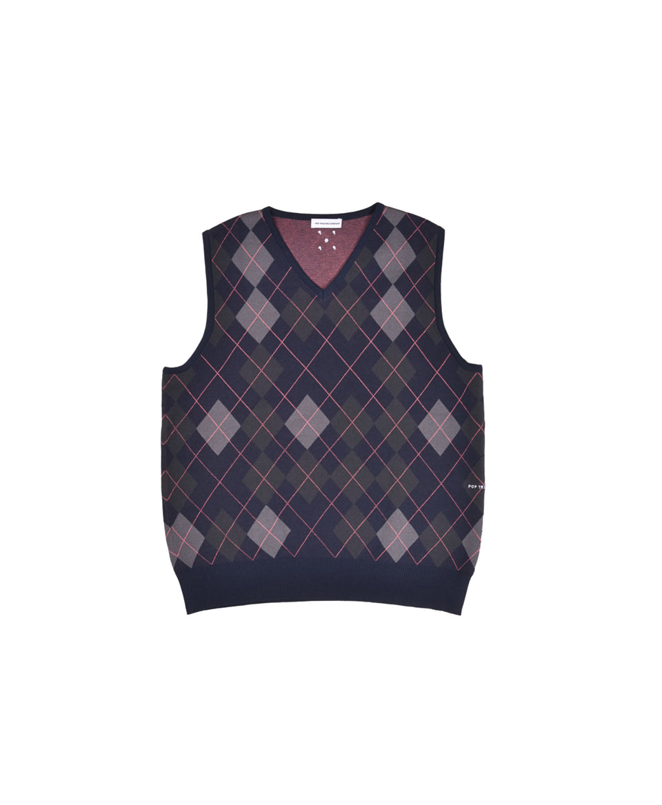 Pop Trading Company SS21 Burlington Knitted Spencer Vest Navy Calculus Victoria BC Canada