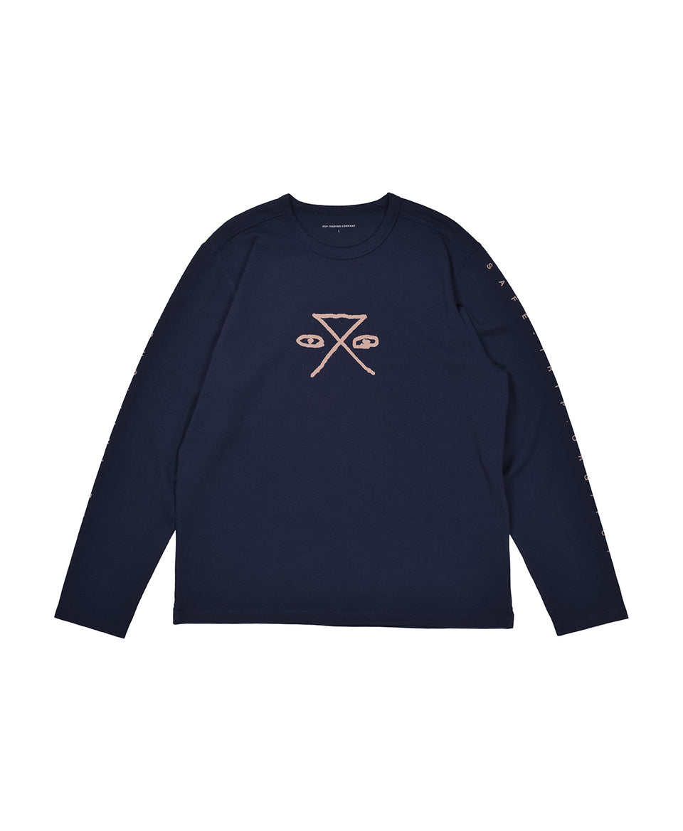 Pop Trading Company AW20 FW20 SAFE-TRIP.ORG/POP Longsleeve Tee Navy Calculus Victoria BC Canada