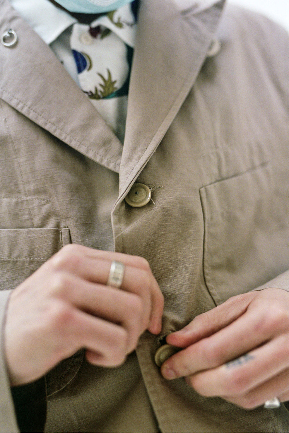 Engineered Garments New York Nepenthes SS21 Bedford Jacket Khaki Cotton Ripstop Calculus Victoria BC Canada