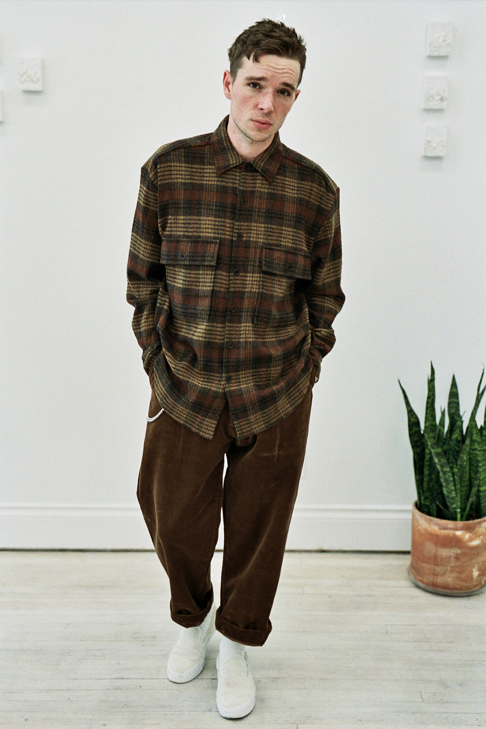 Evan Kinori Big Shirt Multi-Colour Check Wool Gauze