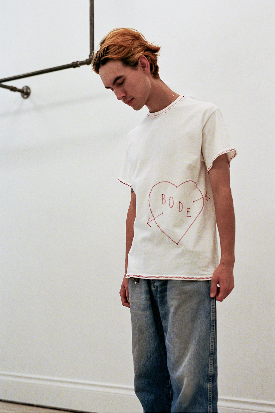 Emily Bode Hand Embroidered Bode Heart T-Shirt