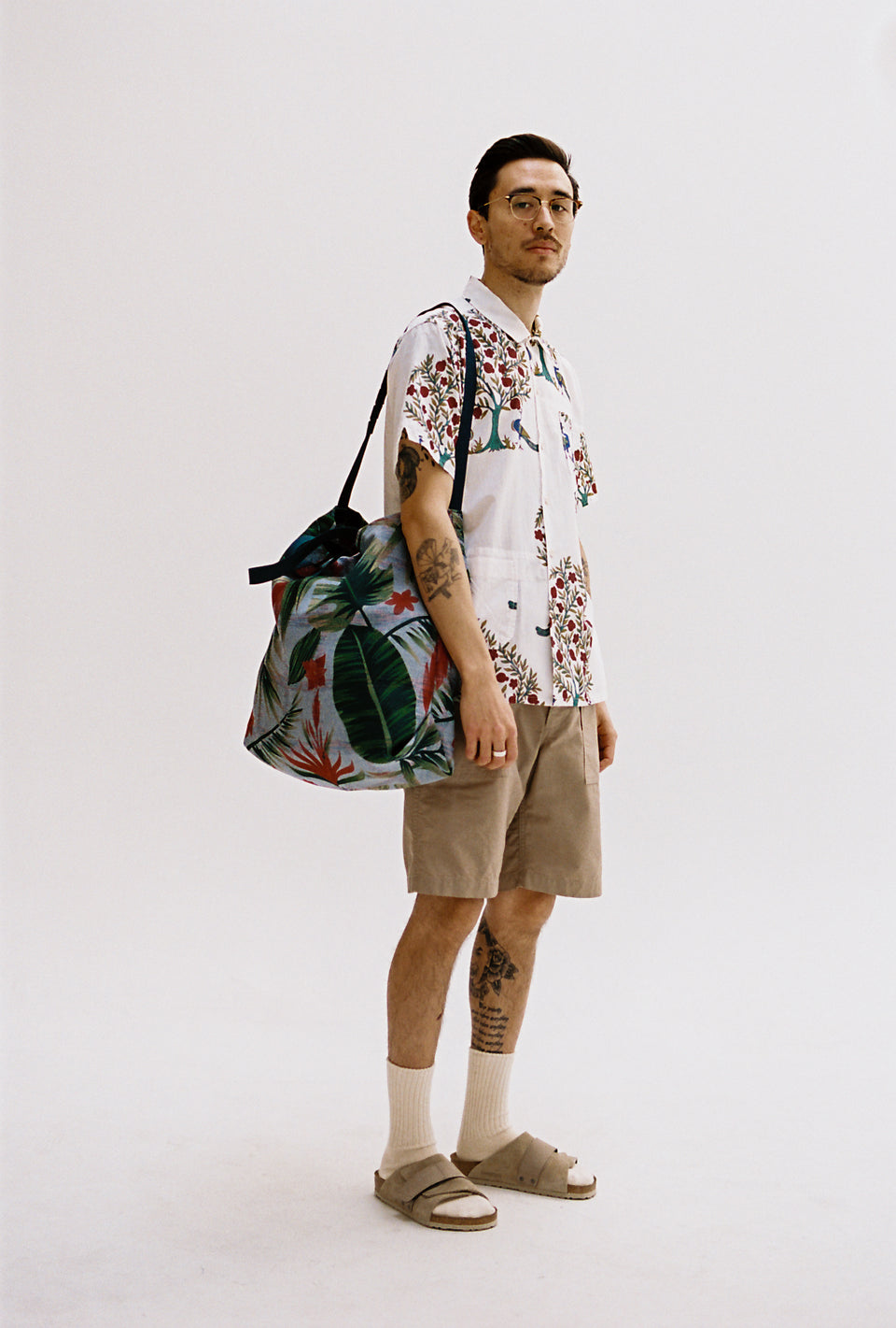 Engineered Garments SS21 Carry All Tote Light Blue Polyester Floral Print Calculus Victoria BC Canada