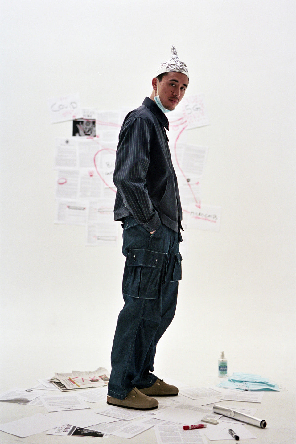 Engineered Garments New York Nepenthes SS21 Claigton Jacket Dark Navy Nyco Gangster Stripe Calculus Victoria BC Canada
