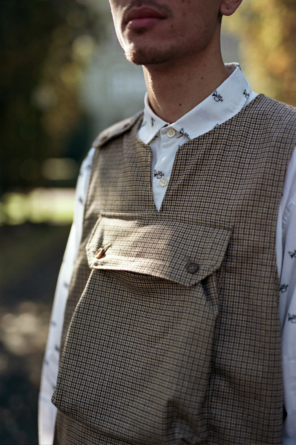Engineered Garments Cover Vest Brown Wool / Poly Gunclub Check Calculus Victoria BC Canada