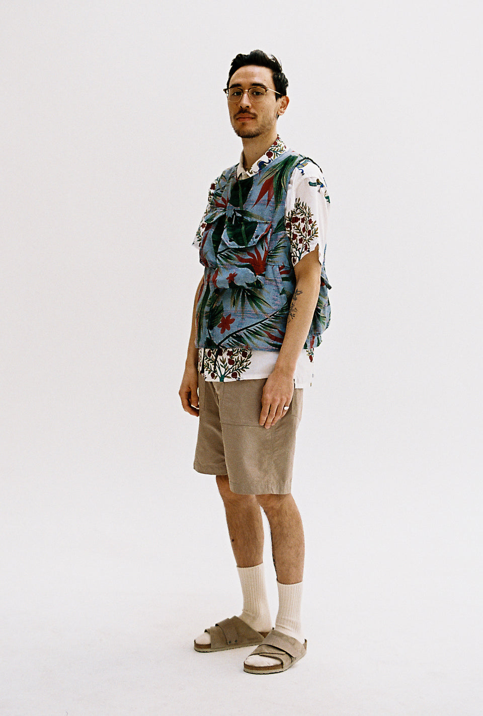 Engineered Garments SS21 Cover Vest Light Blue Polyester Floral Print Calculus Victoria BC Canada