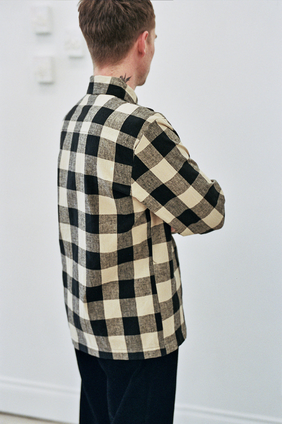 Flat Hem Shirt Cotton / Linen Big Check Black / Tan