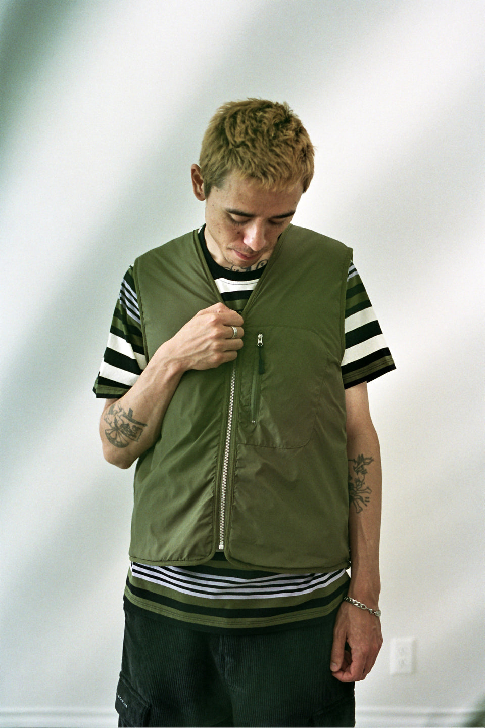 Pop Trading Company AW20 FW20 Harold Reversible Vest Hunting Green Calculus Victoria BC Canada