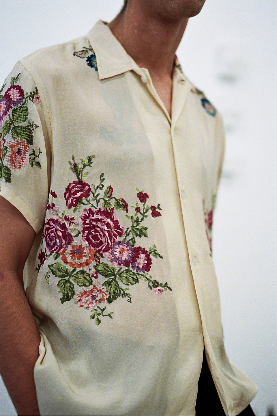 Bode Needle-Point Embroidered Bowling Shirt