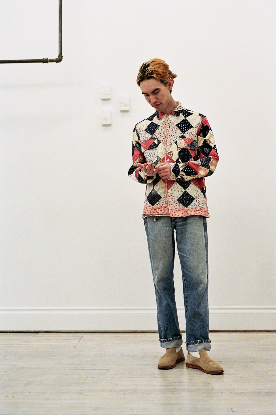 Emily Bode Four Patch Quilt Havana Shirt