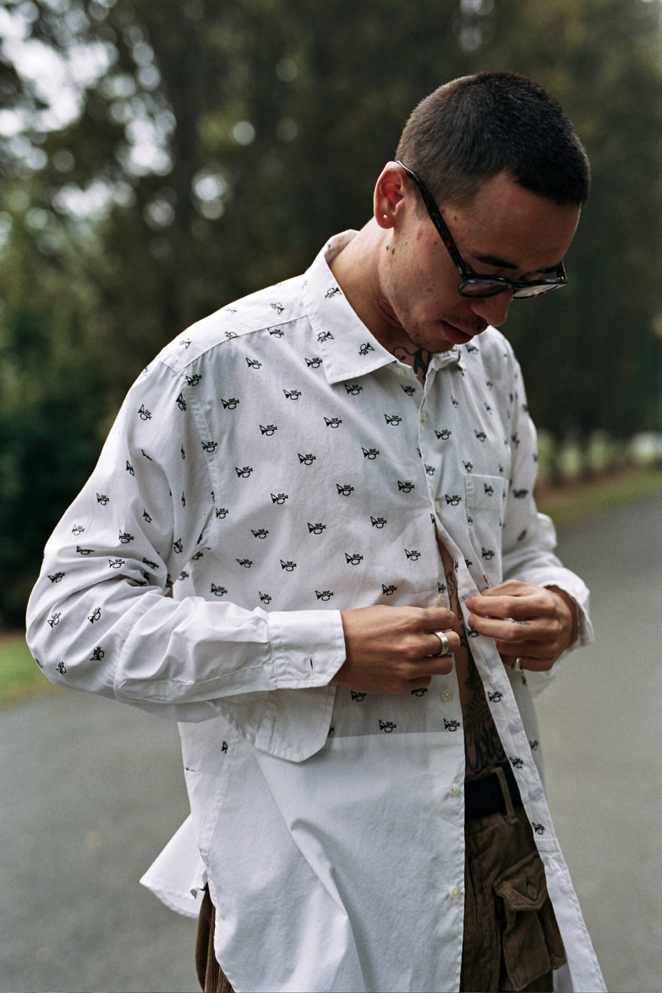 Engineered Garments Spread Collar Shirt White Trumpet Embroidery Broadcloath Calculus Victoria BC Canada