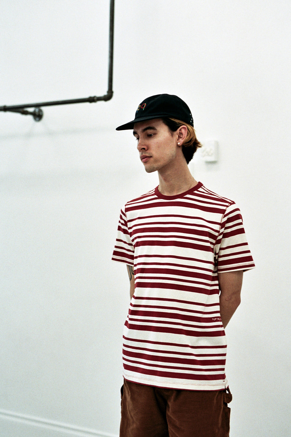 Pop Trading Company SS20 Striped Tee Pepper Red / Off White