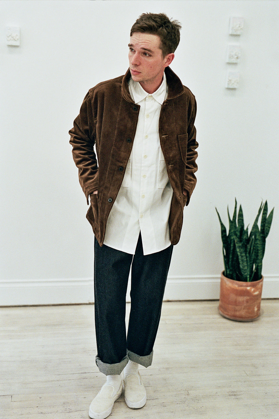 Evan Kinori Three Pocket Jacket Organic Cotton Corduroy Golden Brown