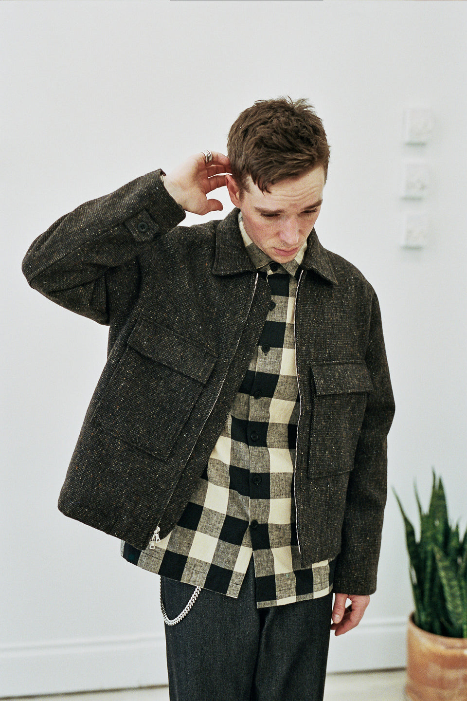 Zip Jacket Irish Tweed (Lined) Brown / Charcoal