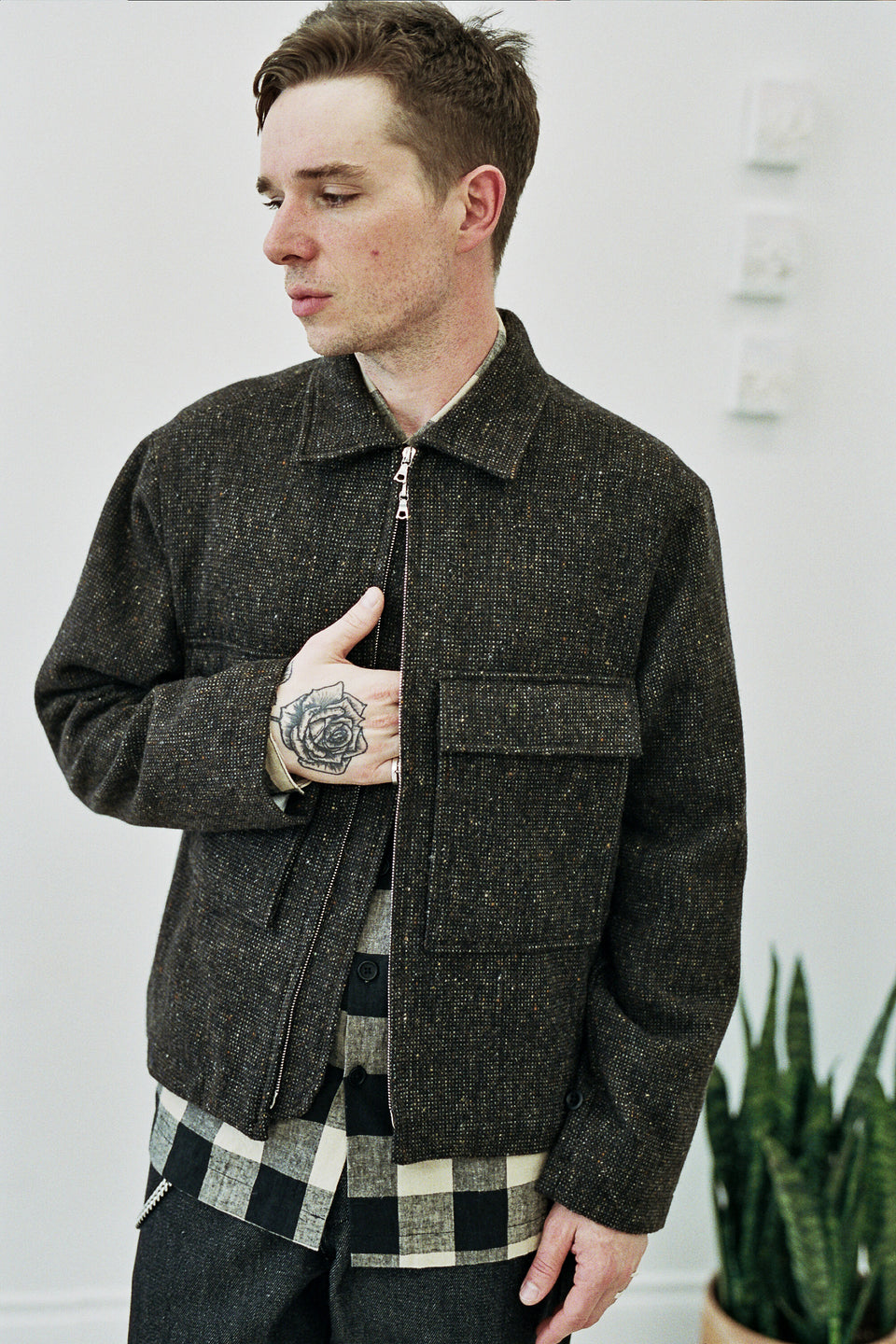 Evan Kinori Zip Jacket Irish Tweed (Lined) Brown / Charcoal