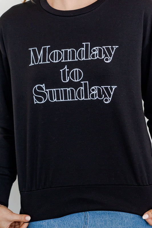 Monday to Sunday Graphic Top